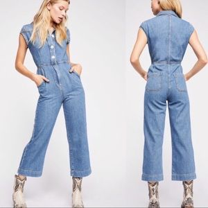 Free People Unchained Melody Denim Jumpsuit.